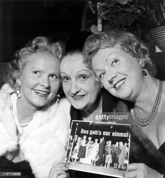 Former silent movie stars meet at the International Film Festival Berlin on 30 June 1956 Liane Haid Fern Andra and Gretl Theimer   usage worldwide