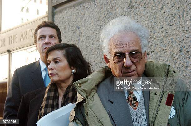 Former Sing Sing warden Steve Dalsheim leaves Pace University with Andrew Cuomo and Bianca Jagger after they testified against the death penalty at a...