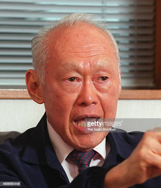 Former Singapore Prime Minister and Senior Minister Lee Kuan Yew speaks during the Asahi Shimbun interview on January 7 2000 in Singapore