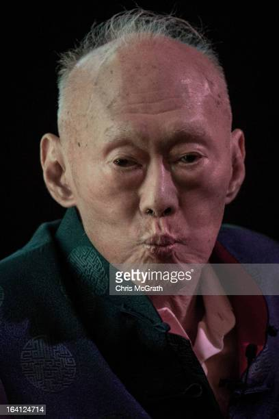 Former Singapore Prime Minister Lee Kuan Yew addresses the Standard Chartered Singapore Forum on March 20 2013 in Singapore Lee Kuan Yew was joined...