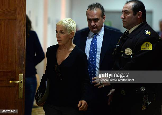 Former singer of Spanish group 'Mecano' Ana Torroja attends Palma de Mallorca's courthouse on April 9 2014 in Palma de Mallorca Spain Ana Torroja...