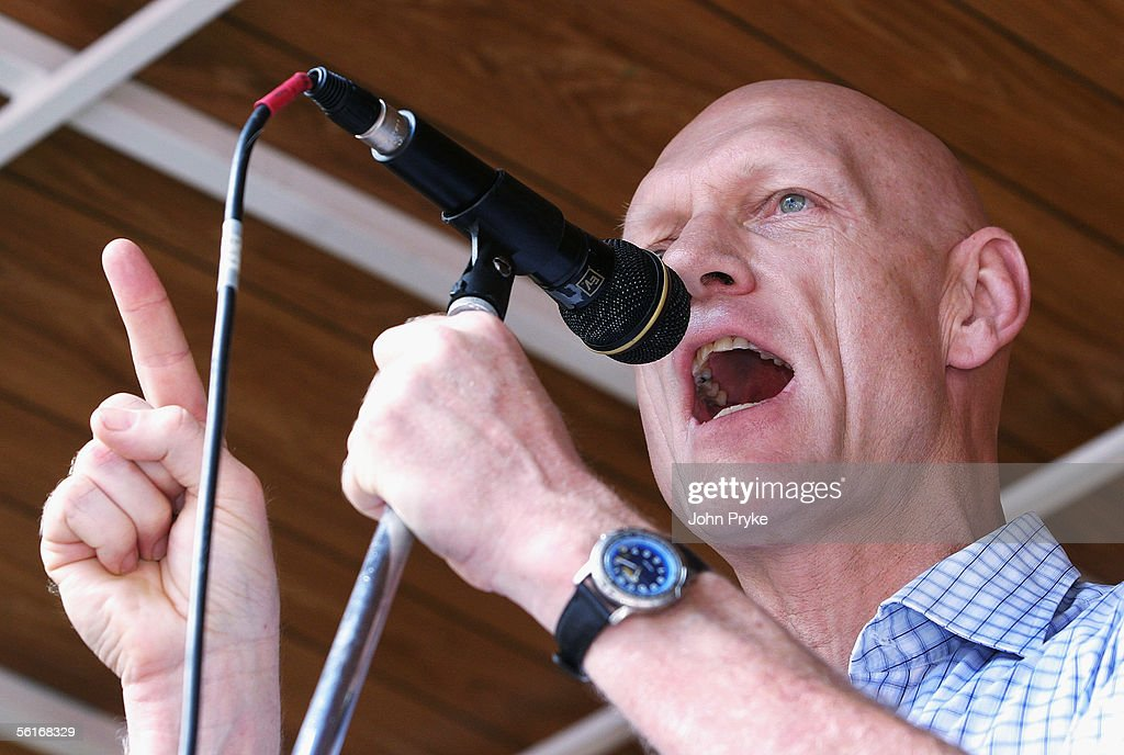 Former singer turned Labour politician Peter Garrett speaks at a demonstration opposing the Australian Federal Government's planned new industrial relations laws November 15, 2005 in Sydney, Australia. An estimated 250,000 people took part in simultaneous demonstrations across Australia.