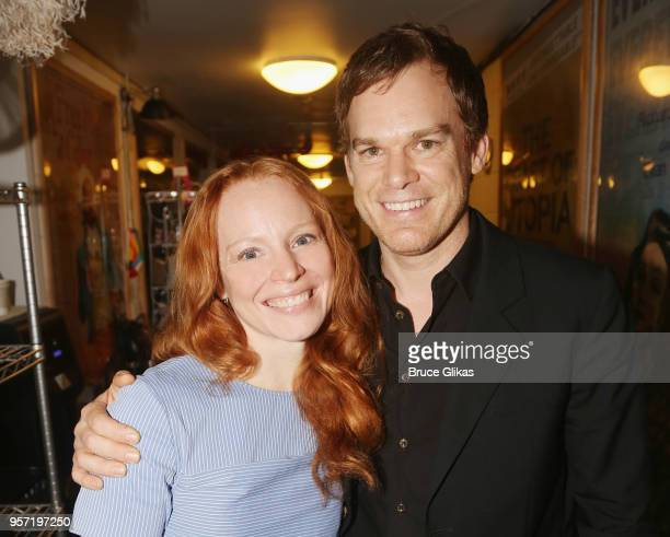 Former Six Feet Under costars Lauren Ambrose and Michael C Hall pose backstage at the hit revival of Lincoln Center Theater's My Fair Lady on...