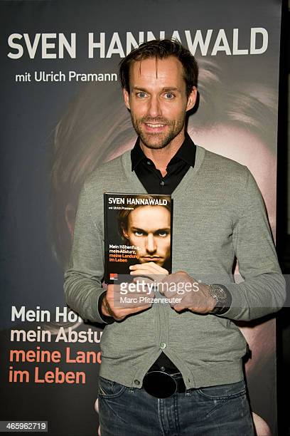 Former ski jumper Sven Hannawald presents his book 'Mein Hoehenflug mein Absturz meine Landung im Leben' at the Thalia Bookstore on January 30 2014...