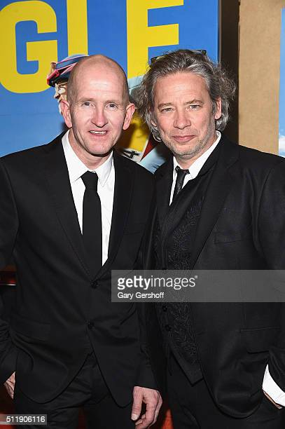 Former skijumper Michael 'Eddie' Edwards and director Dexter Fletcher attend the 'Eddie The Eagle' New York screening at Chelsea Bow Tie Cinemas on...