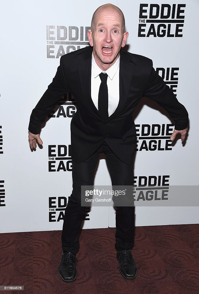Former ski-jumper Michael 'Eddie' Edwards attends the 'Eddie The Eagle' New York screening at Chelsea Bow Tie Cinemas on February 23, 2016 in New York City.