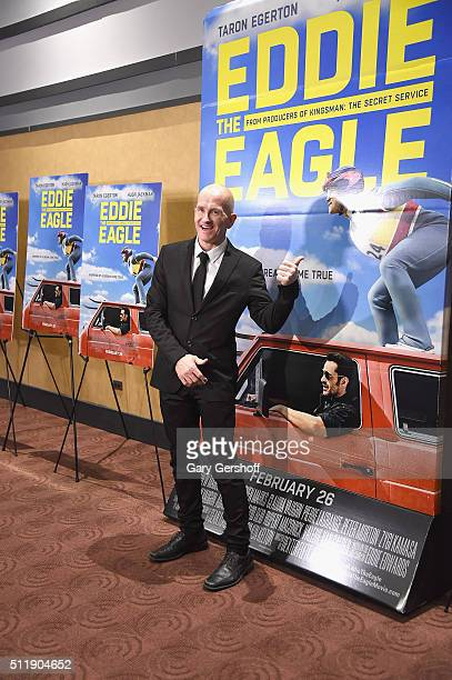 Former skijumper Michael 'Eddie' Edwards attends the 'Eddie The Eagle' New York screening at Chelsea Bow Tie Cinemas on February 23 2016 in New York...