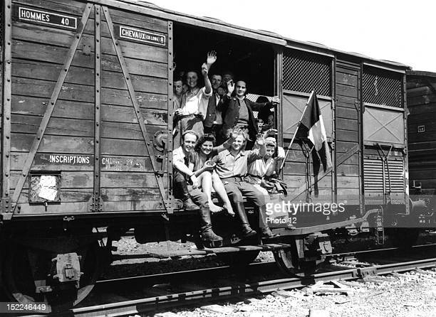 Former slave laborers are en route home from Braunschweig where they were freed by troops of the 83rd Division 9th US Army This picture was taken May...