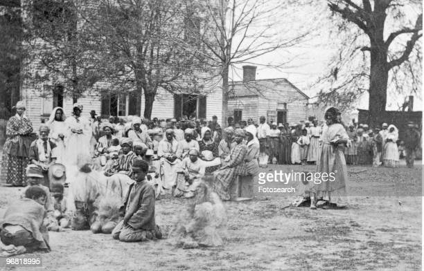 Former Slaves mainly Females and Children in their Government Quarters Female Seminary in Baton Rouge Louisiana circa 1863