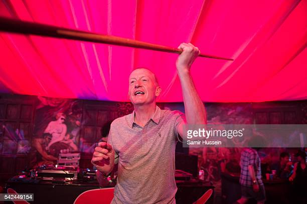Former snooker player Steve Davis meets fans as he performs at Glastonbury Festival 2016 at Worthy Farm Pilton on June 22 2016 in Glastonbury England