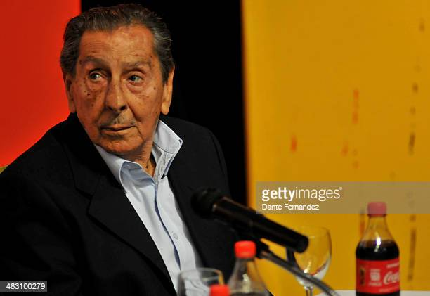 Former soccer player Alcides Edgardo Ghiggia looks on during a press conference as part of the FIFA World Cup Trophy Tour at LATU on January 16 2013...