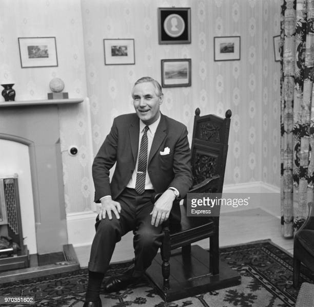 Former soccer player and manager of Bristol Rovers FC Bert Tann sitting on a wishing chair in the mayor of Weymouth's parlour UK 28th January 1967