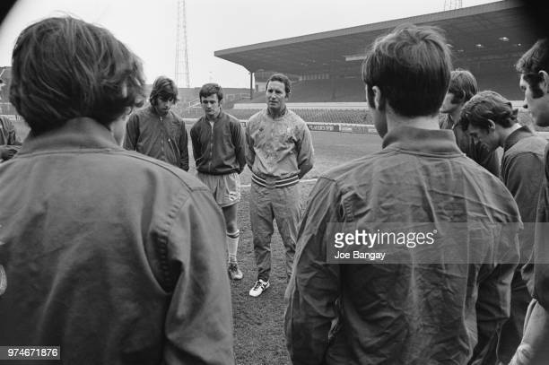 Former soccer player and manager of Chelsea FC Dave Sexton training with his players on the eve of the FA Cup semifinal against Watford FC London UK...
