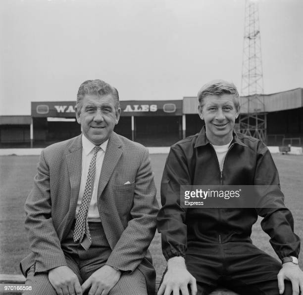 Former soccer player and manager of Lincoln City FC Ron Gray with English soccer player and trainer Bert Loxley , UK, 8th August 1967.