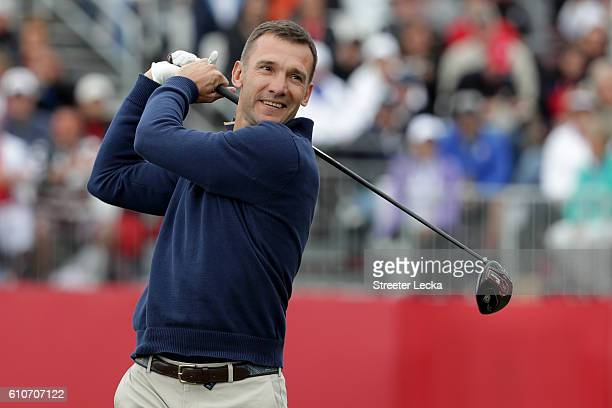 Former soccer player Andriy Shevchenko of Europe hits off the first tee during the 2016 Ryder Cup Celebrity Matches at Hazeltine National Golf Club...