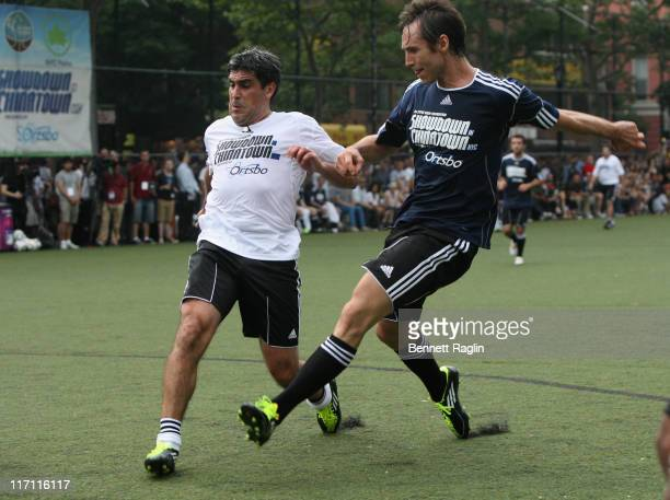 Former soccer player Claudio Reyna and Steve Nash attend the 2011 Showdown in Chinatown soccer match at the Sara D Roosevelt Park on June 22 2011 in...