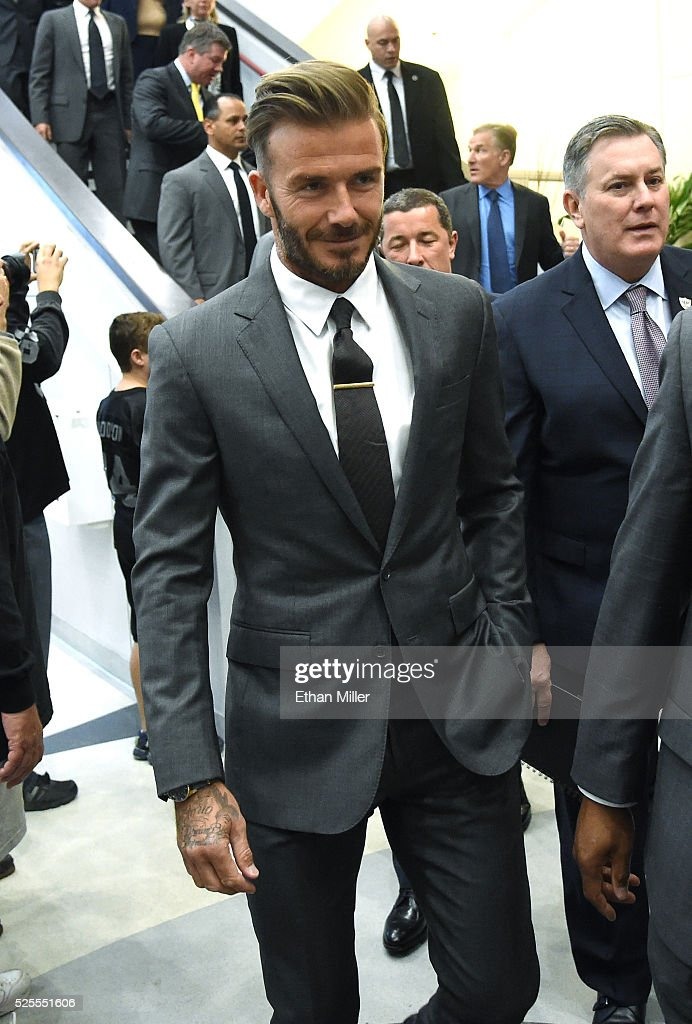 Former soccer player David Beckham arrives at a Southern Nevada Tourism Infrastructure Committee meeting with Oakland Raiders owner Mark Davis (not pictured) at UNLV on April 28, 2016 in Las Vegas, Nevada. Davis told the committee he is willing to spend USD 500 million as part of a deal to move the team to Las Vegas if a proposed USD 1.3 billion, 65,000-seat domed stadium is built by casino magnate Sheldon Adelson's Las Vegas Sands Corp. and real estate agency Majestic Realty, possibly on a vacant 42-acre lot a few blocks east of the Las Vegas Strip recently purchased by UNLV.
