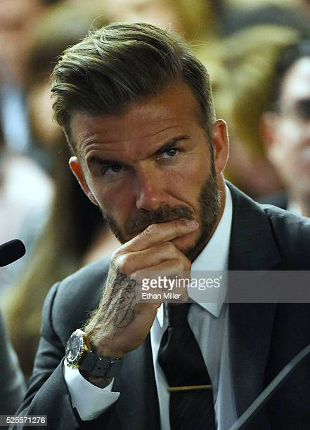 Former soccer player David Beckham looks on during a Southern Nevada Tourism Infrastructure Committee meeting with Oakland Raiders owner Mark Davis...