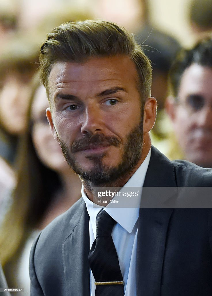 Former soccer player David Beckham looks on during a Southern Nevada Tourism Infrastructure Committee meeting with Oakland Raiders owner Mark Davis (not pictured) at UNLV on April 28, 2016 in Las Vegas, Nevada. Davis told the committee he is willing to spend USD 500 million as part of a deal to move the team to Las Vegas if a proposed USD 1.3 billion, 65,000-seat domed stadium is built by casino magnate Sheldon Adelson's Las Vegas Sands Corp. and real estate agency Majestic Realty, possibly on a vacant 42-acre lot a few blocks east of the Las Vegas Strip recently purchased by UNLV.