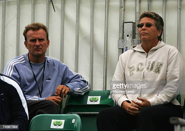 Former soccer player David Felgate and Former tennis player Jo Durie look on during the DFS Classic at the Edgbaston Priory Club on June 12 2007 in...