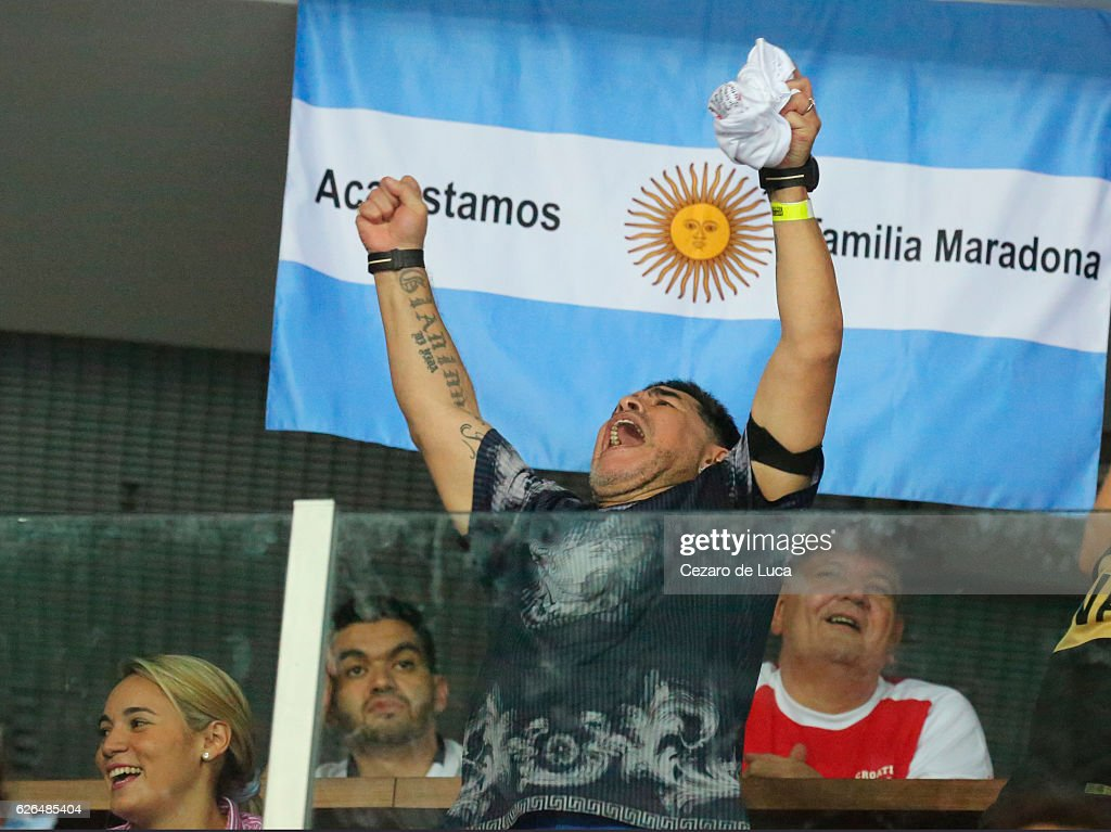 Former soccer player Diego Maradona celebrates after the victory of Argentina in the 2016 Davis Cup Final between Croatia and Argentina on November 27, 2016 in Zagreb, Croatia.