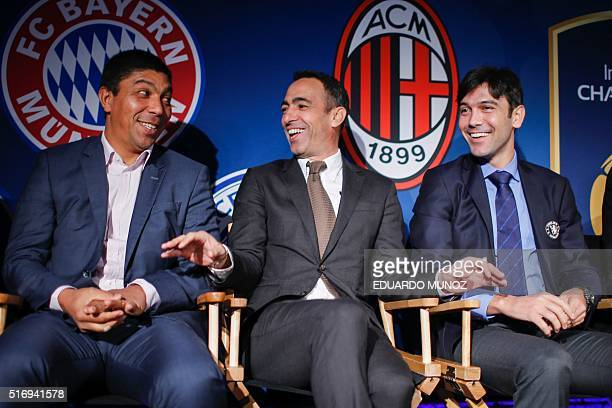 Former soccer player Giovane Elber Former French football player Youri Djorkaeff and Chelsea technical coach Paulo Ferreira attend a press conference...