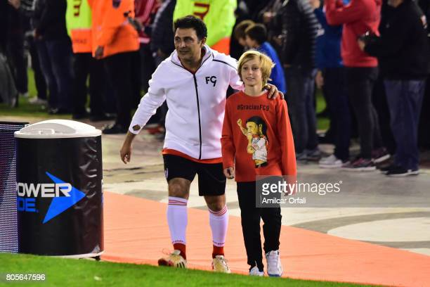 Former soccer player Leonardo Astrada walks onto the field prior Fernando Cavenaghi's farewell match at Monumental Stadium on July 01 2017 in Buenos...