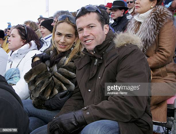 Former soccer player Lothar Matthaeus and his wife Marijana Matthaeus attend the Hahnenkamm Race on January 21 2006 in Kitzbuehel Austria