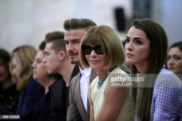 Former soccer star David Beckham and editorinchief of American Vogue Anna Wintour wait for the start of Victoria Beckham's Spring/Summer 2016...
