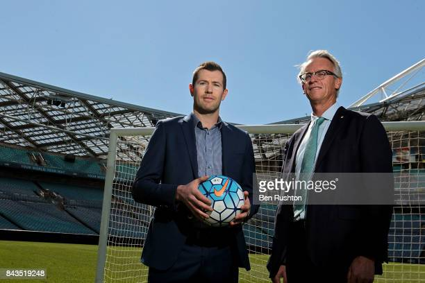 Former Socceroo Brett Emerton and FFA CEO David Gallop pose during an FFA Socceroos announcement at ANZ Stadium on September 7 2017 in Sydney...