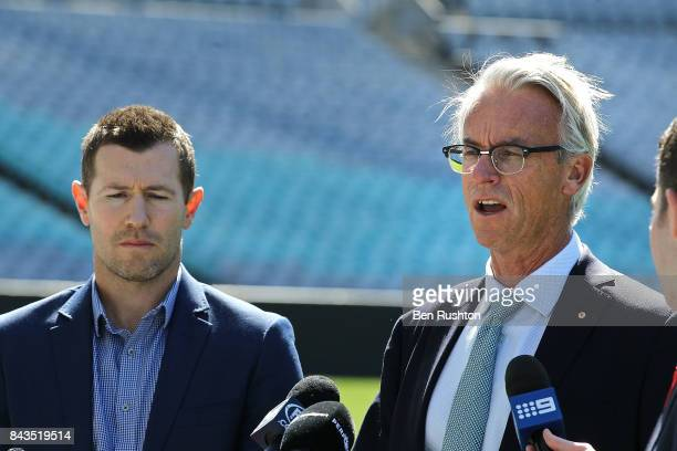 Former Socceroo Brett Emerton and FFA CEO David Gallop speak to the media during an FFA Socceroos announcement at ANZ Stadium on September 7 2017 in...