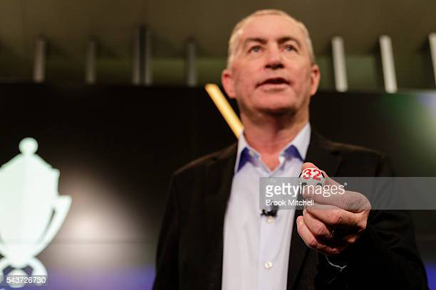Former Socceroo captain Paul Wade during the FFA Cup round of 32 draw announcement at the FFA Offices on June 30 2016 in Sydney Australia