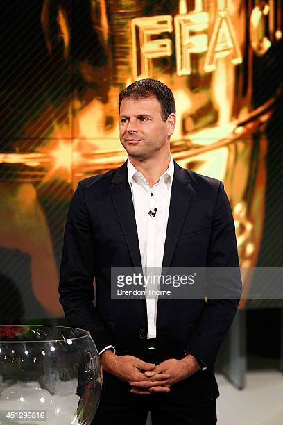 Former Socceroo Mile Sterjovski speaks on camera during the official FFA Cup draw at Fox Sports Studios on June 27 2014 in Sydney Australia