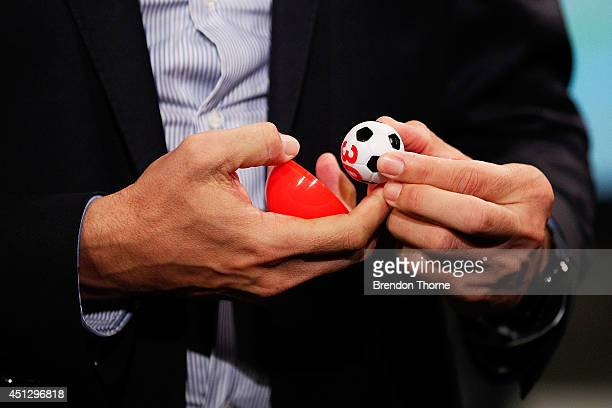 Former Socceroo Paul Okon draws team to compete in the official FFA Cup draw at Fox Sports Studios on June 27 2014 in Sydney Australia