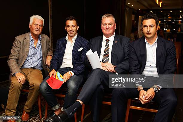 Former Socceroo Rale Rasic Alessandro Del Piero AFC Asian Cup 2015 Local Organising Committee CEO Michael Brown and Former Socceroo Paul Okon pose...