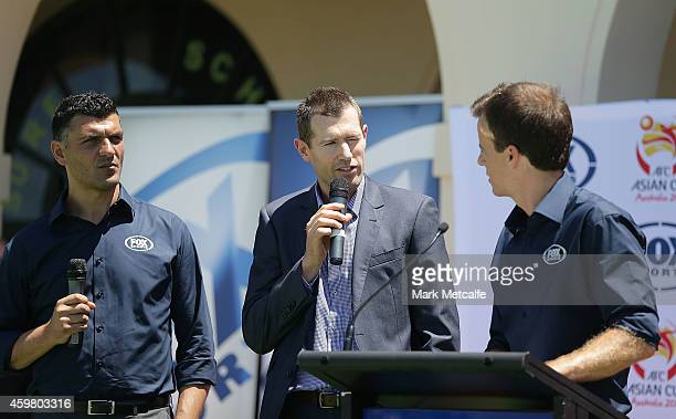 Former Socceroos Brett Emerton and John Aloisi speak to the media during the Fox Sports Asian Cup coverage launch at Bondi Beach on December 2 2014...