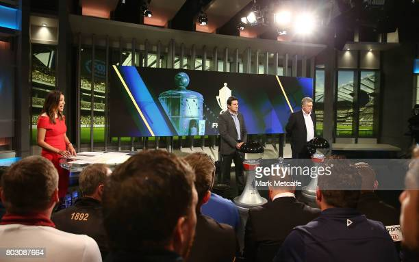 former Socceroos Peter Raskopoulos and Charlie Yankos take part in the FFA Cup Round of 32 Official Draw on June 29 2017 in Sydney Australia