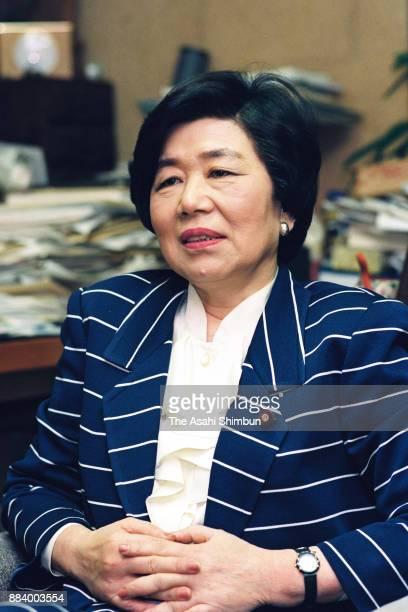 Former Social Democratic Party chief Takako Doi speaks during the Asahi Shimbun interview on April 20 1992 in Tokyo Japan