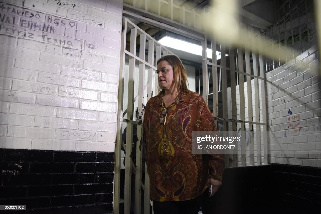 Former Social Welfare Deputy Secretary Anahi Keller is seen in a court cell after being arrested in connection with the fire at a children's shelter that killed 40 girls in Guatemala City on March ...