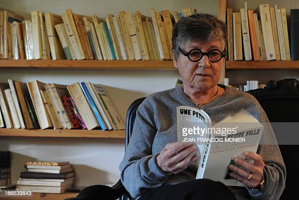 Former socialist mayor of Dreux Françoise Gaspard reads a book on October 14 in MezieresenDrouais near Dreux The municipal election in Dreux in 1983...