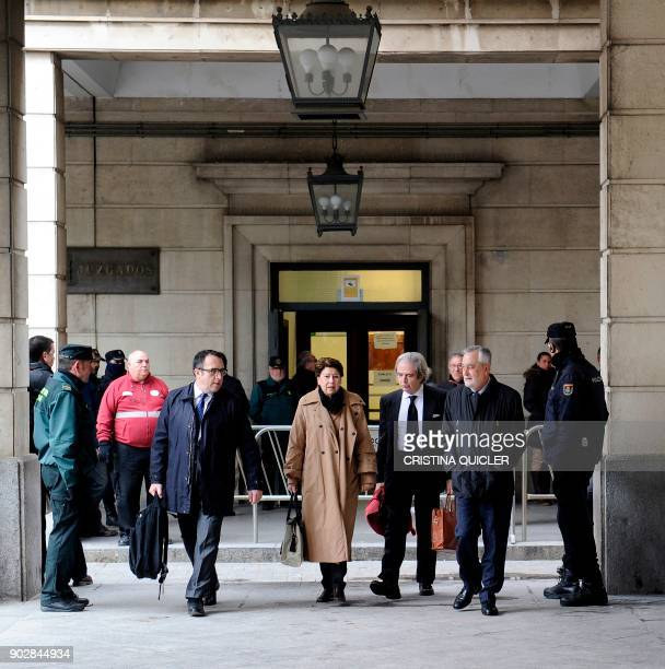 Former Socialist party president Jose Antonio Grinan and Former Minister of development Magdalena Alvarez arrive at the Seville courthouse to appear...