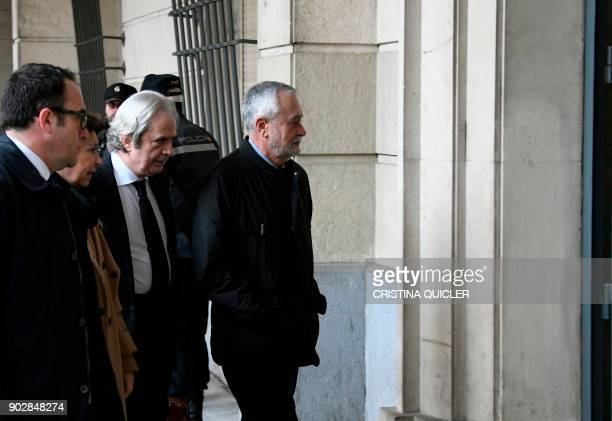 Former Socialist party president Jose Antonio Grinan arrives at the Seville courthouse to appear before a judge as part of a socalled ERE alleged...