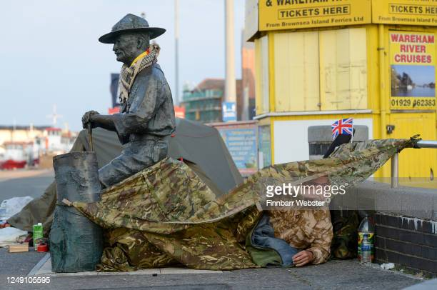Former soldier Stephen McCartan wakes up at his shelter set up to protect the Lord BadenPowell statue on June 12 2020 in Poole United Kingdom The...