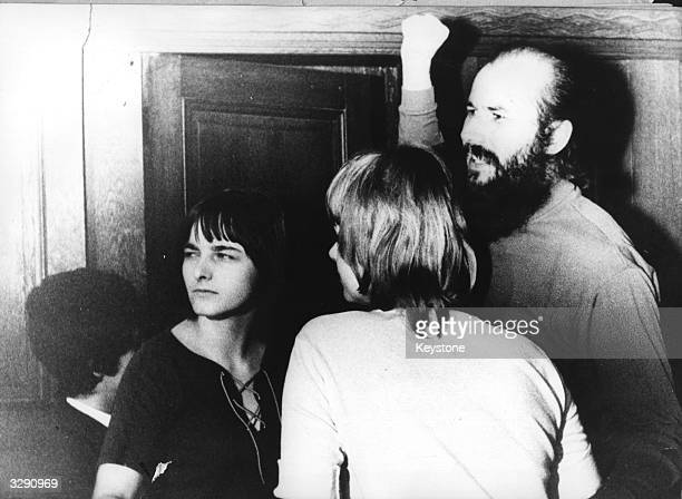 Former solicitor Horst Mahler after being acquitted of freeing arrested terrorists. With him are Irene Goergens, left, and Ingrid Schubert, centre,...