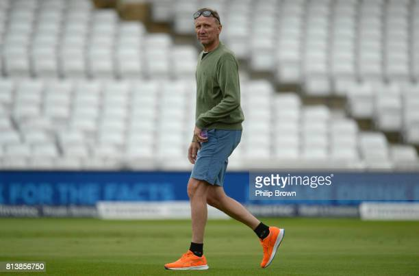 Former South Africa bowler Allan Donald looks on during a training session before the 2nd Investec Test match between England and South Africa at...