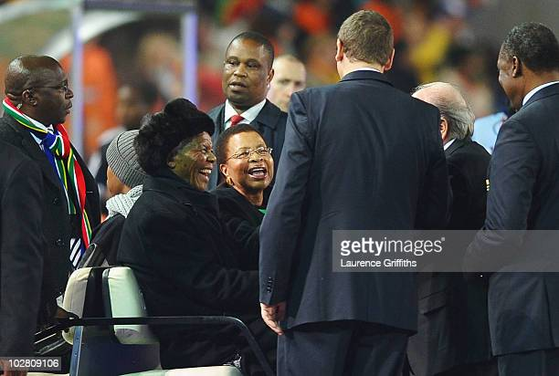 Former South Africa President Nelson Mandela and wife Graca Machel meet FIFA President Jospeph Sepp Blatter prior to the 2010 FIFA World Cup South...