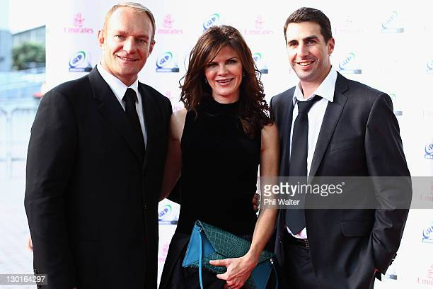 Former South African captain Francois Pienaar with his wife Nerine Winter and IRB referee Craig Joubert arrives for the 2011 IRB Awards ceremony at...