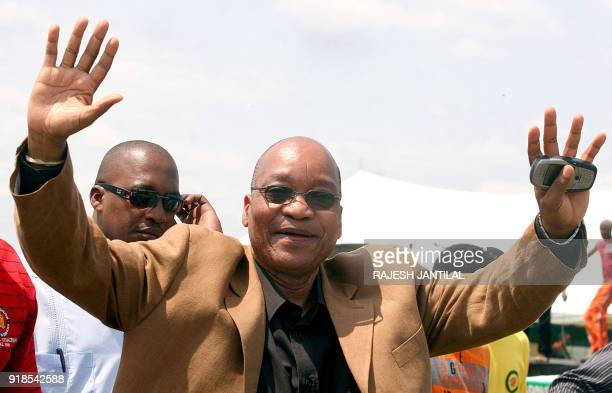 Former South African Deputy President Jacob Zuma addresses 13 November 2005 some 5000 supporters during the African National Congress Youth League...