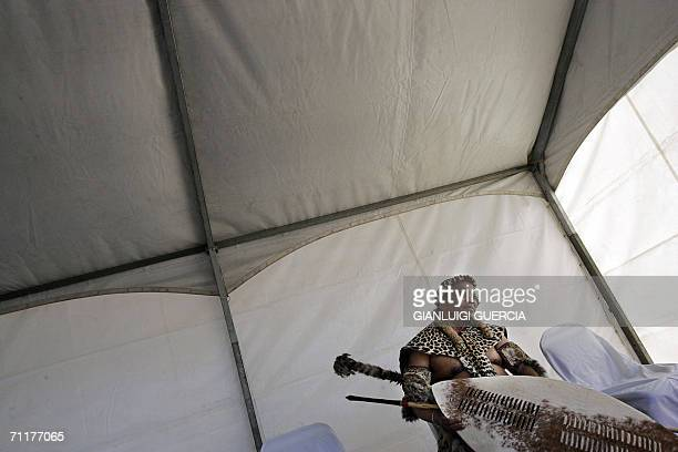 Former South African Deputy President Jacob Zuma stands in a marqui 11 June 2006 ahead of the celebrations for the Bambatha rebellion centenary in...