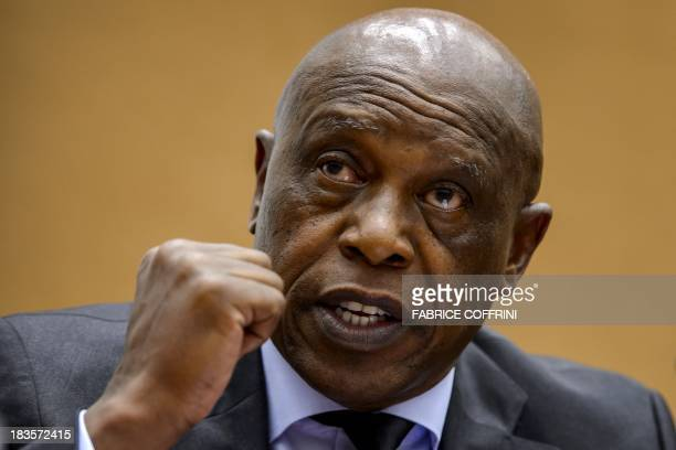 Former South African Human Settlements Minister and businessman Tokyo Sexwale gestures on October 7 2013 during a working group meeting on racism and...